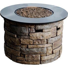 allen   roth Canyon Ridge 36 6 in W 50 000 BTU Stone Design Composite Propane Gas Fire Column