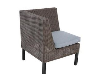 allen   roth Chesterbrook Brown Wicker Metal Stationary Dining Corner Chair with light Blue Cushioned Seat