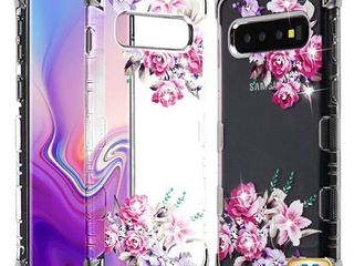 MYBAT Silve Plating Romantic love Flowers Diamante TUFF Klarity lux Candy Skin Cover for Galaxy S10 plus