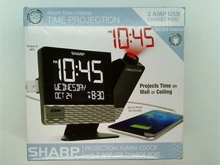 Projection With Usb Charge Table Clock Black   Sharp