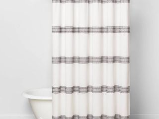 Textured Dobby Stripe Shower Curtain Gray   Hearth   Hand with Magnolia