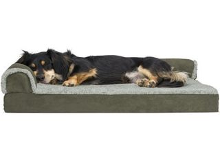 FurHaven Pet Dog Bed Deluxe Orthopedic Faux Fur   Suede l Shaped Chaise Couch Pet Bed for Dogs   Cats  Dark Sage  Medium