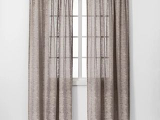 Set of 2   84 x54  Richter Clipped Sheer Window Curtain Panel light Gray   Project 62