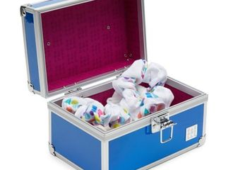 Caboodlesa Cosmetic Baby Train Case  Blue Iridescent Patent
