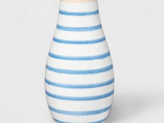 8 7  x 4 6  Stoneware Striped Vase Blue White   Threshold
