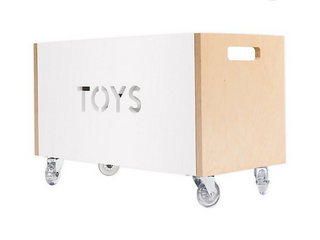 Nico   Yeye Rolling Toy Box Chest in White Birch
