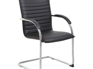 Set of 2 Vinyl Side Chair Gray Chrome   Boss Office Products   missing some screws