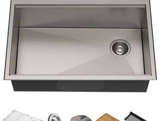 KRAUS Korea Workstation 30 inch Drop In or Undermount 16 Gauge Single Bowl Stainless Steel Kitchen Sink with Accessories  Pack of 5