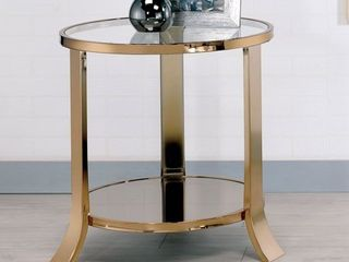 Furniture of America laya Contemporary Gold Metal Glass Top End Table  Retail 228 49