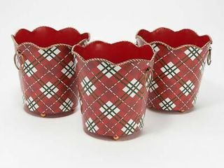 Valerie Set of 3 Metal Holiday Buckets in Red Plaid