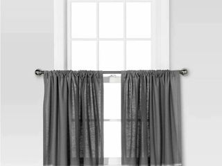 QTY of 2   Threshold Curtain Tiers   Gray Cream Multi Stripe Two Cafe Tiers Curtain Window Panel   Gray