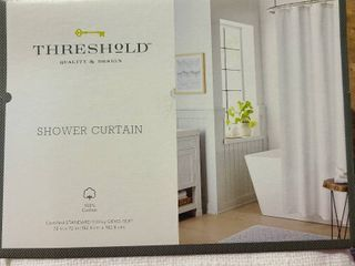 Threshold White Textured Shower Curtain Home Spa B b Bed   Breakfast