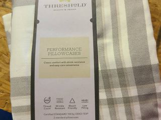Threshold Standard Pillowcase Set Cotton Plaid Gray 20x32 In 400 Thread Count