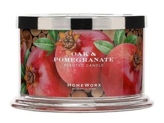 HomeWorx by Harry Slatkin 4 Wick Candle  18 oz  Oak   Pomegranate   HMXC18 AZ OP