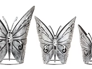 Set of 3 Metal Butterfly Holders by Valerie