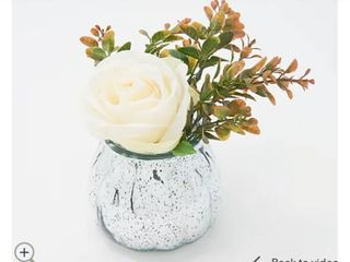 Real Touch Rose   Foliage in Mercury Glass Vase w Gift Box by Peony
