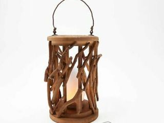 Barbara King Rustic Twig lantern with Tiki Flameless Candle   Remote