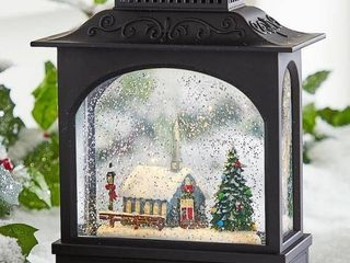 11 Inch Church Scene lighted Water lantern In Swirling Glitter