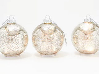 Set of 3 Mini Illuminated Mercury Glass Ornaments by Valerie