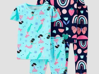Baby Girls  4pc 100  Cotton  Mermaid  Pajama Set   Just One You made by carter s Blue 12M
