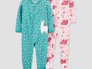 Toddler Girls  2pk llama Footed Pajama   Just One You made by carter s Blue 5T