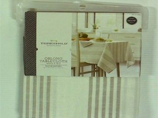 Threshold 70x52 Stripe Tablecloth Gray