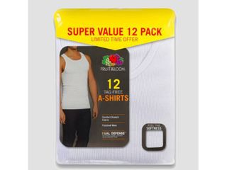 Fruit of the loom Men s 6 6 Super Value Pack Tank Undershirt   White Xl