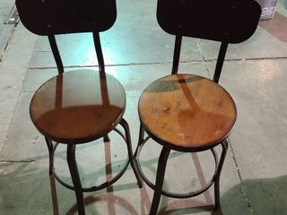 Set of 2 wood and metal swivel bar stools