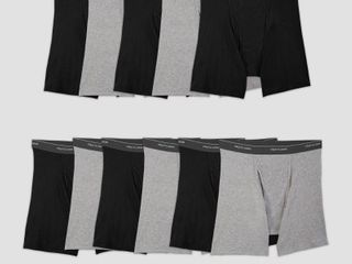 Fruit of the loom Men s 5 6 Super Value Pack Coolzone Boxer Briefs   Black Gray l