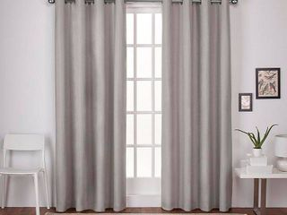 Exclusive Home Curtains 2 Pack london Textured linen Thermal Grommet Top Curtain Panels