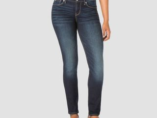 DENIZEN from levi s Women s Mid Rise Slim Jeans   Dark Wash 14 Short  Dark Blue