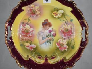 Mrkd  Prov Saxe ES 11 5 d cake plate featuring lady and Roses