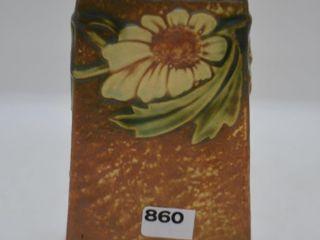 Roseville Dahlrose 6  square vase