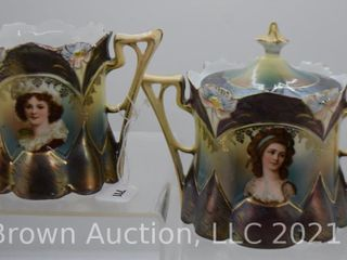 R S  Prussia Tiffany portrait creamer and sugar with lid