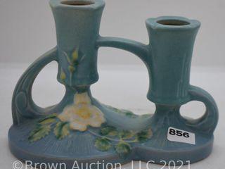Roseville White Rose 1143 4  double candleholder  blue