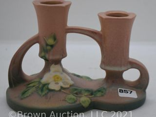 Roseville White Rose 1143 4  double candleholder  pink