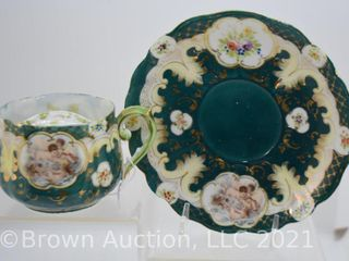 Handpainted porcelain mustache cup and saucer