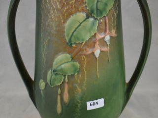 Roseville Fuchsia 903 12  vase  green