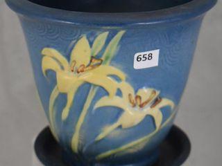 Roseville Zephyr lily 672 5  flower pot and saucer  blue
