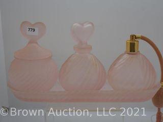 Pink Satin Glass 4 pc  dresser set  Swirl pattern