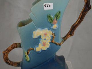 Roseville Apple Blossom 373 7  vase  blue
