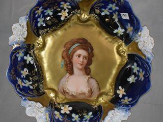 R S  Prossua lily Mold cobalt Potocka 10 5  bowl