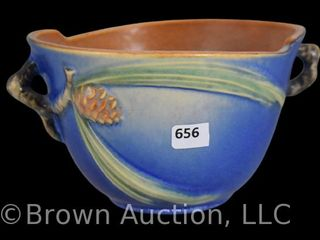 Roseville Pine Cone 320 5  bowl  blue