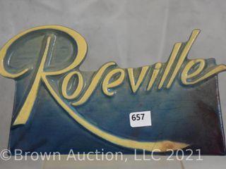Roseville script blue dealer sign
