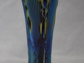 Carnival Beaded Bull s Eye 12 h vase  purple with heavy blue iridescence