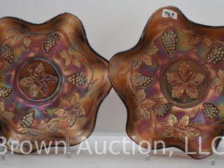 2  Carnival Vintage leaf 2 5  x 8 5  bowls  amethyst