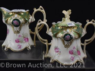 R S  Prussia Mold 643 4  creamer and sugar w lid  Roses and Snowballs  red mark
