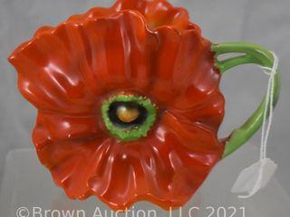 Royal Bayreuth 3 5  red Poppy creamer  blue mark