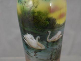 Royal Bayreuth 6  Swans on lake vase  blue mark