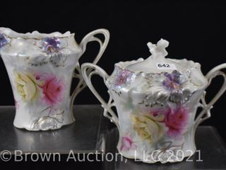 R S  Prussia Carnation Mold 3 75  creamer and sugar w lid  red mark